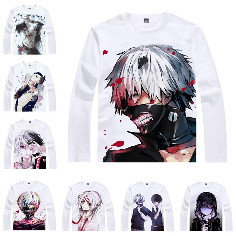 Japanese Anime Shirt Tokyo Ghoul T-Shirts Multi-style Long Sleeve Ken Kaneki Kirishima Uta Cosplay Costume Kawaii Gift