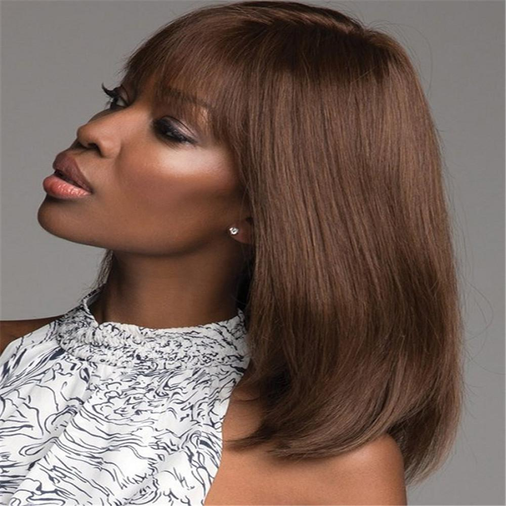Fashion can customize straight hair Glueless Brazilian Human Hair 100% Full Lace Wig yaki straight full lace wig virgin with baby color 33#