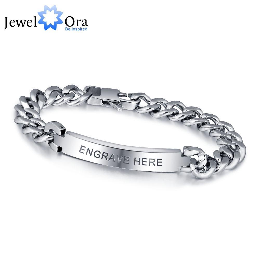 Personalized Engrave Silver Men Bracelet Fashion Titanium Steel