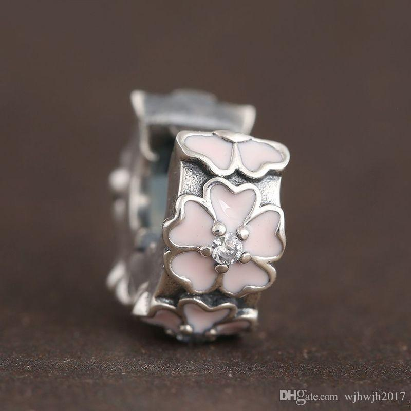 Pink Primrose Clip Charms Authentic 925 Sterling-Silver-Jewelry Enamel Flower Stopper Lock Beads Fits DIY Brand Bracelets Jewelry Making