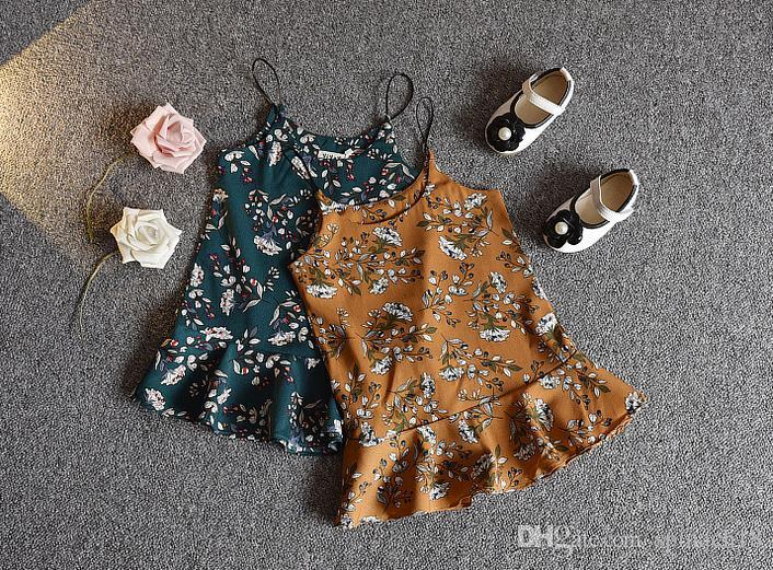 Hot Summer Girls Dress Set Baby T-shirt in cotone a maniche corte in cotone + Florals Slip Dress Girl Abbigliamento Suit Outfit bambini Giallo Verde