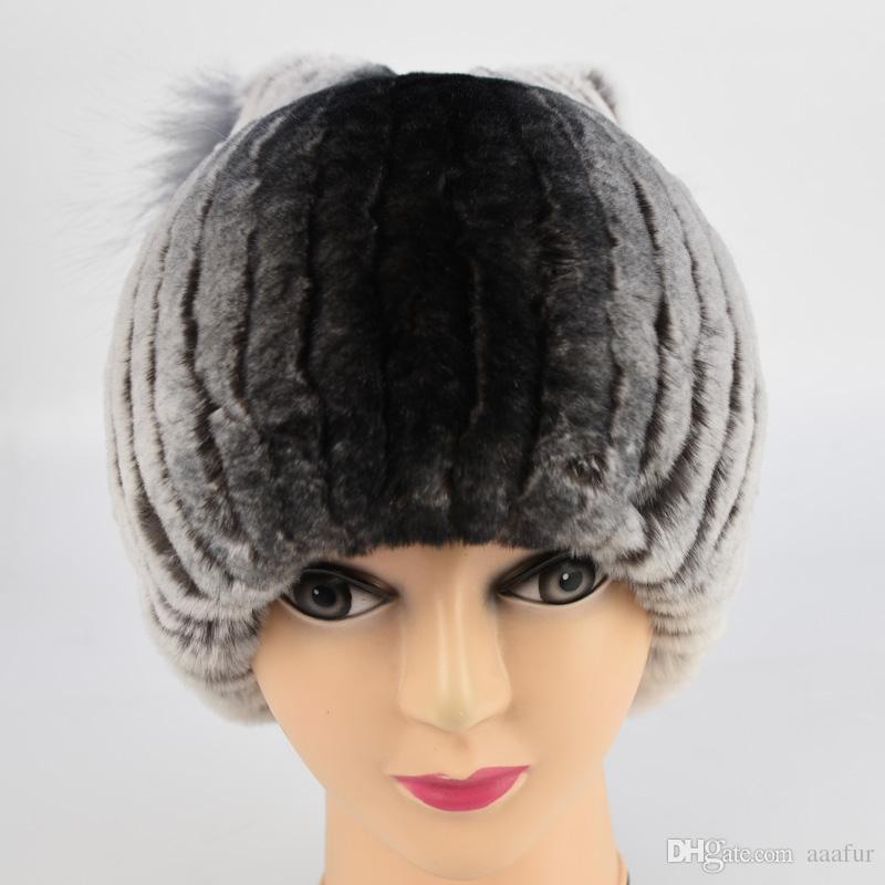 b8ee8f18dd1 Russia Fur Hat For Women Winter Rex Rabbit Fur Hat With Fox Fur Top Female  Elastic Knitted Cap 2017 New Fashion High End Beanies Fedora Hat Baseball  Caps ...