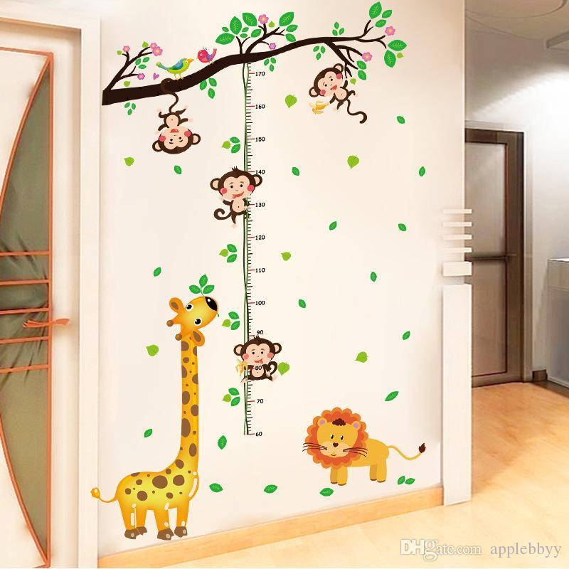 the monkey climbing height height stick children bedroom wallpaper
