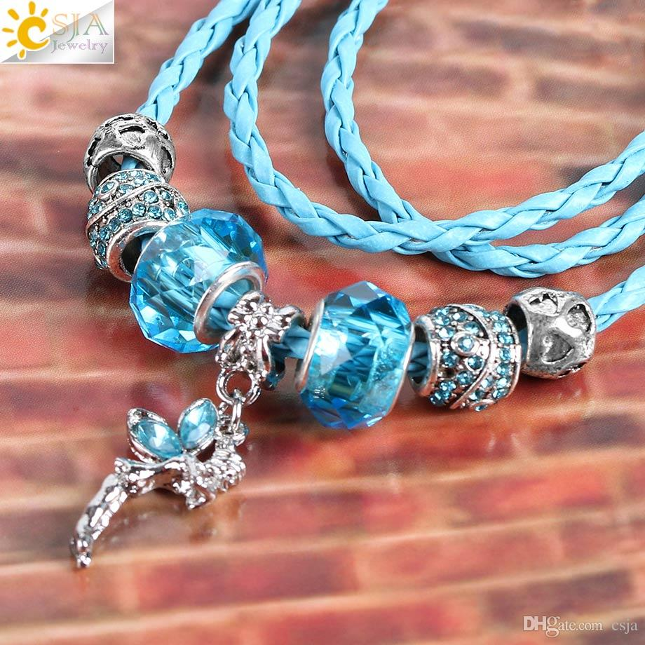 CSJA Angel Wing Fairy Pendant Charm Necklace Clear Murano Glass Rhinestone Beads Braid Leather Rope Multiple Function Jewelry for Women E713