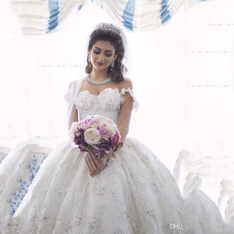 Arabian Design Wedding Dresses Sweetheart Lace Appliqued Beaded ...