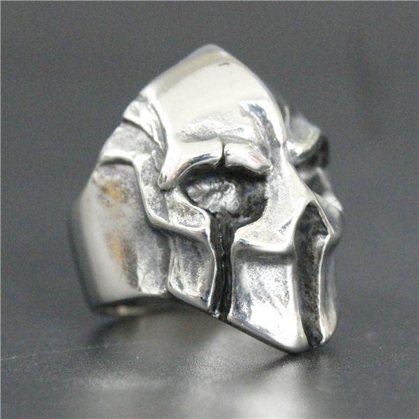 2017 neue Modeschmuck Spartan Helm Schild Ring 316L Edelstahl Polieren Silber Neue Geschenk Coole Maske Krieger Ring