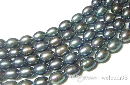 Black Rice Freshwater Pearl Loose Beads For DIY Craft Fashion Jewelry Gift 15inch MP10