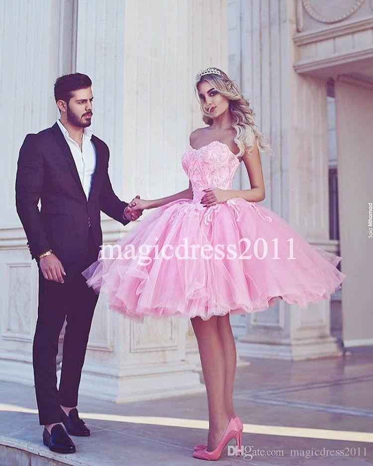 Said Mhamad Lovely Pink Prom Evening Dress 2017 A-Line Sweetheart Lace Appliques Short Mini Tutu skirt Dress for Prom Party Celebrity Wear
