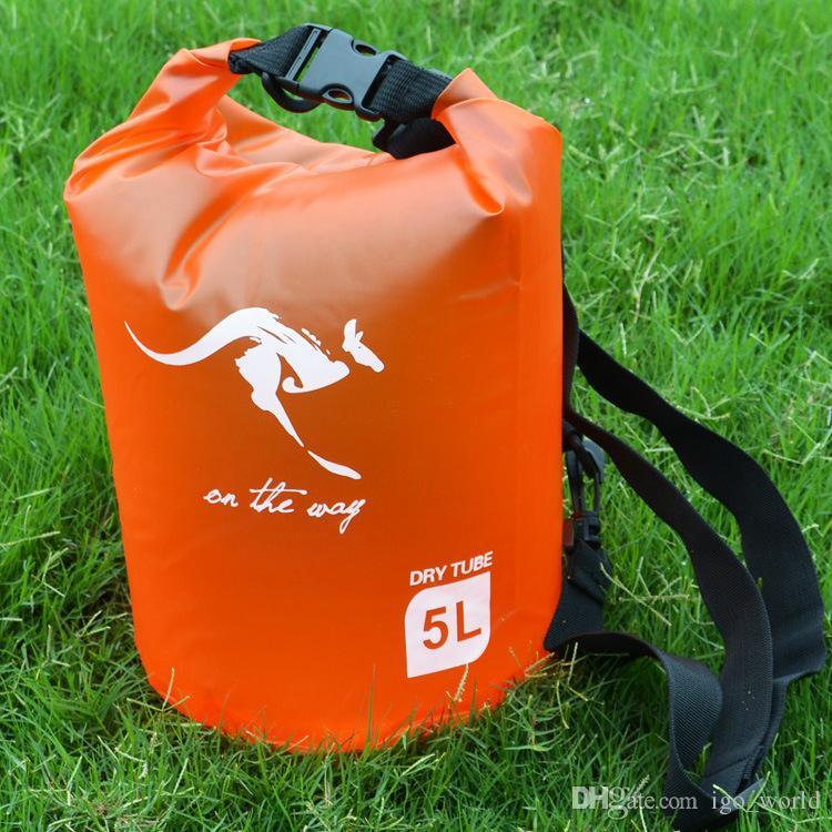 Großhandel 5L Durable Dry Bag im Freien wasserdichte Taschen klappbaren tragbaren Wannenbeutel Driften Ruderboot freies Verschiffen