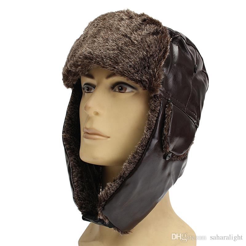 4d6f8adcf3a 2019 Men Warm Winter Earmuffs Leather Cap Lei Feng Cap Ear Protection Pilot  Bomber Hats Proof Trapper Russian Hat With Ear Flap From Saharalight