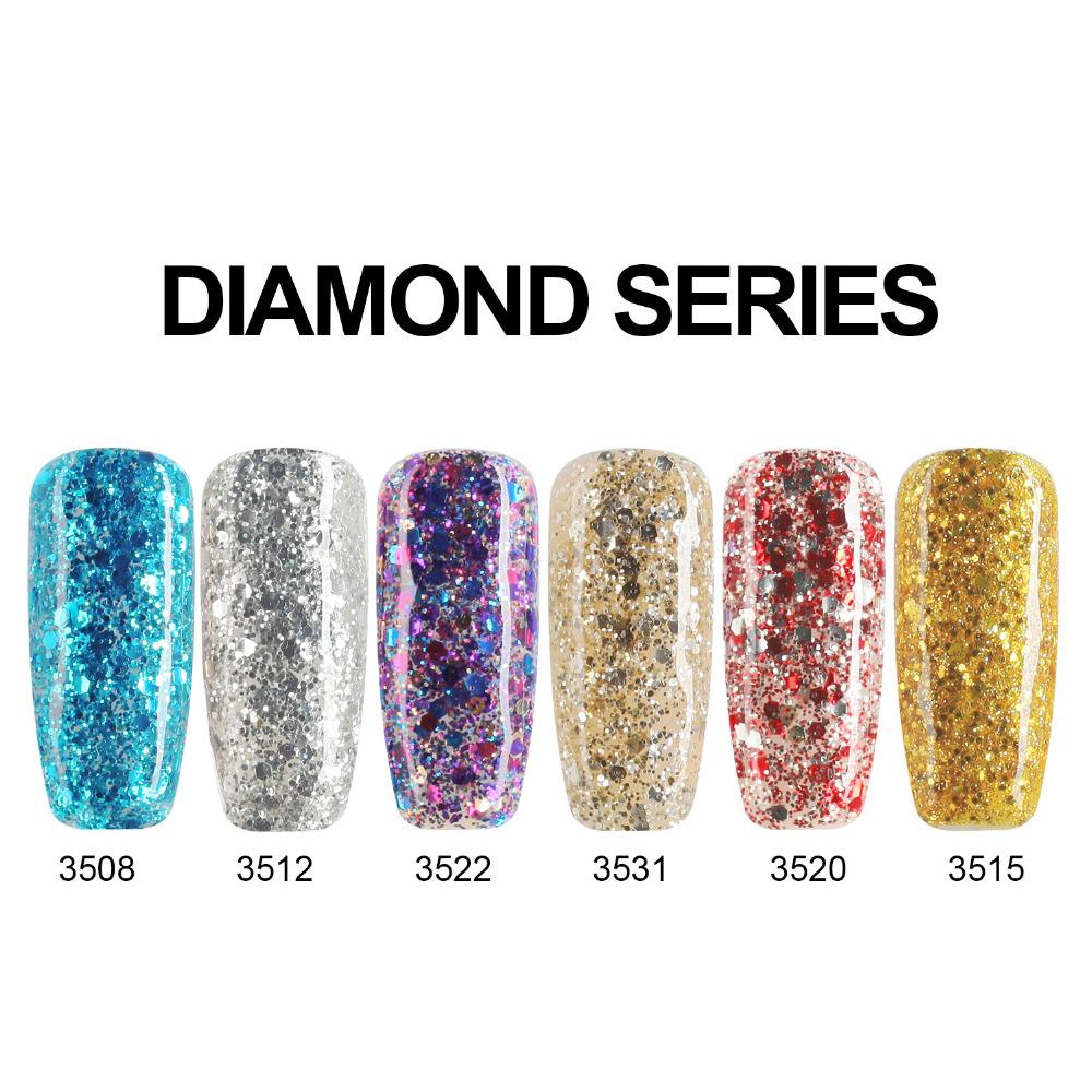 Wholesale- Modelones Yellow Color Series Diamond Glitter UV Nail Gel ...