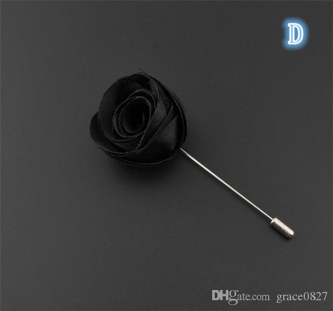 Rose Flower Brooch lapel Pins Handmade Boutonniere Stick with flowers for Gentleman suit wear Men Accessories fashion