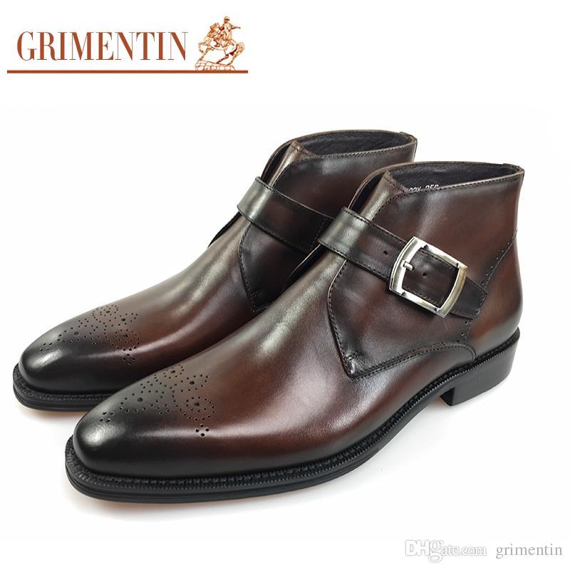 c8f33a3d26772 GRIMENTIN Italian Fashion Designer Mens Boots Hot Sale Genuine Leather  Handmade Carved Brand Men Ankle Boots Formal Business Mens Shoes JM Chelsea  Boots ...
