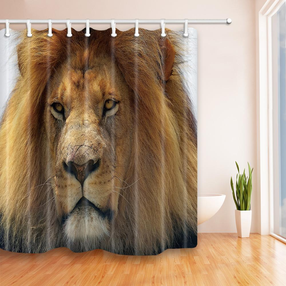 2018 New Digital Printing Lion Shower Curtains 180180cm Home Decoration Mildew Resistant Waterproof Polyester Fabric Bathroom Curtain From Party8