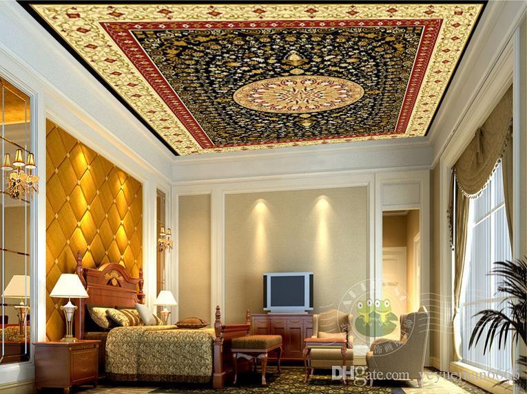 benutzerdefinierte 3d decke reichen gelben name kreis muster tapeten für wohnzimmer 3d decke wandbilder tapete europäischen