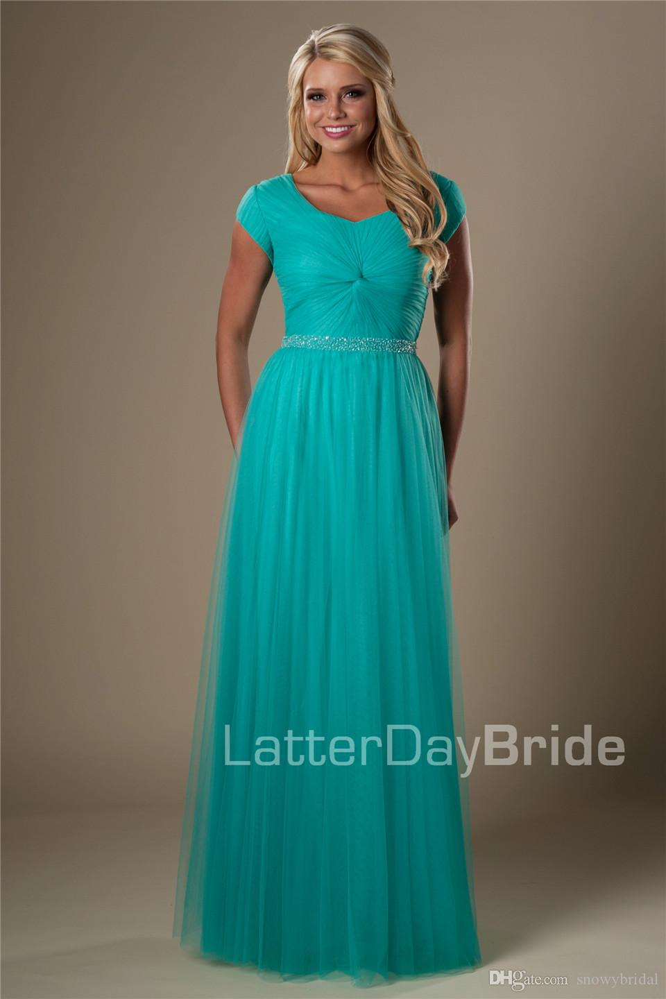 Turquoise Tulle Long Modest Bridesmaid Dresses With Short Sleeves A ...