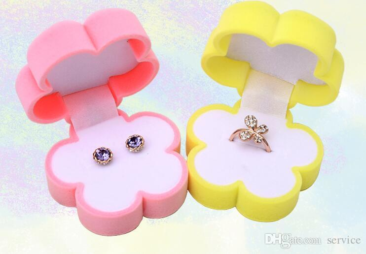 Luck Flowers Velvet Jewelry Ring/ Earring Gift Packaging Display Box For Wedding Jewelry Boxes 2017
