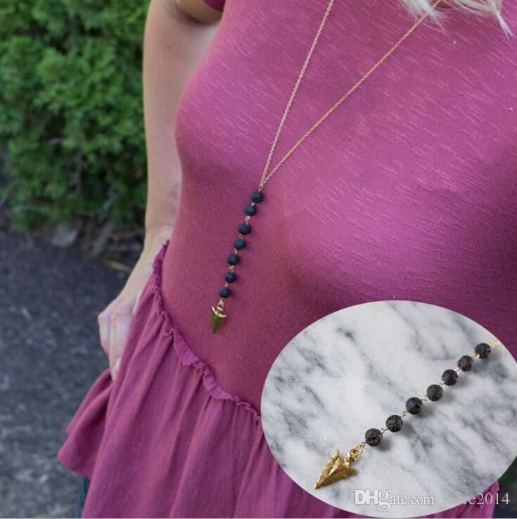 Neue Lava-Rock Bead Pfeil Quaste lange Halskette Aromatherapie ätherisches Öl Diffusor Halsketten schwarz Lava Anhänger Halsketten Schmuck für Frauen
