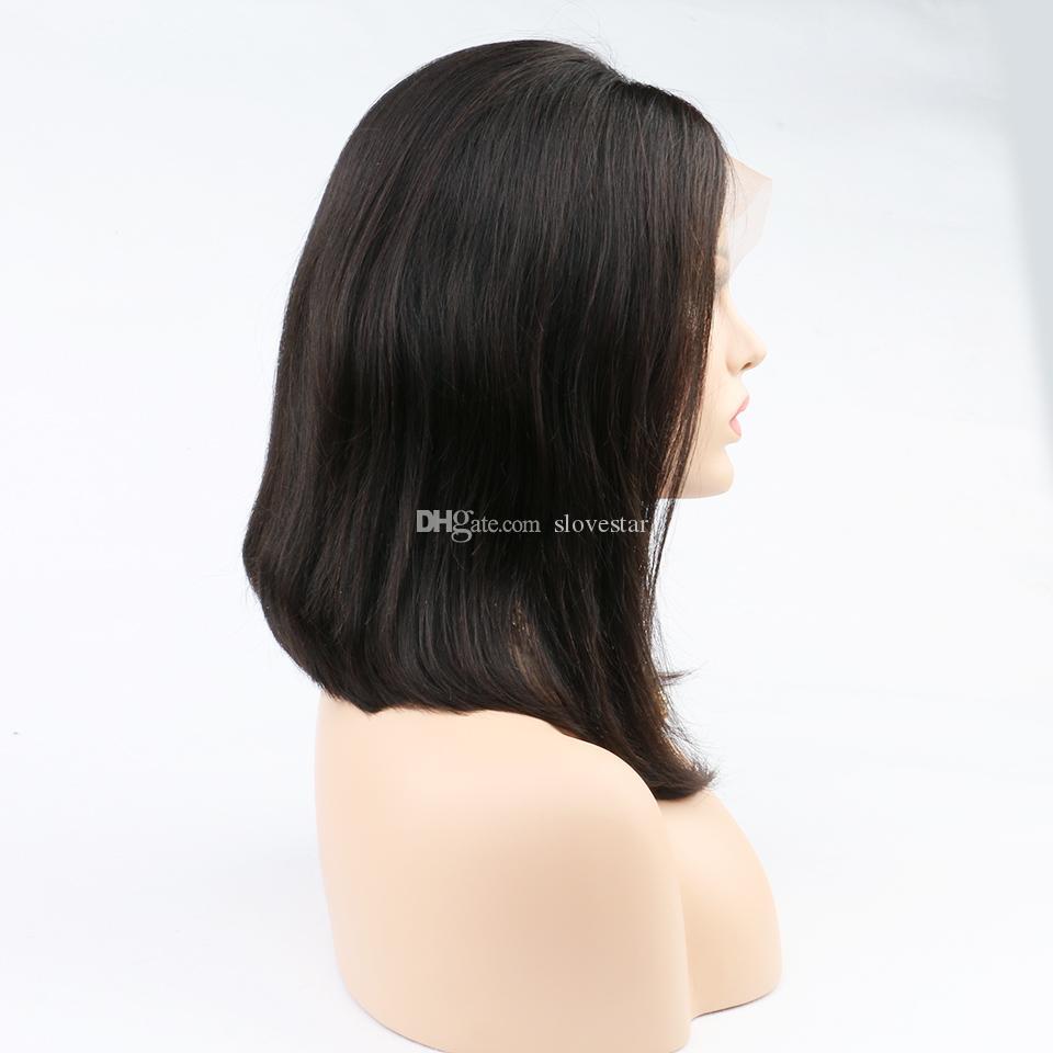 Cheveux Brésiliens Vierge Bob Sans Colle Perruques de Cheveux Humains Non Transformés Cheveux Humains Court Bob Perruques pour les Femmes Noires