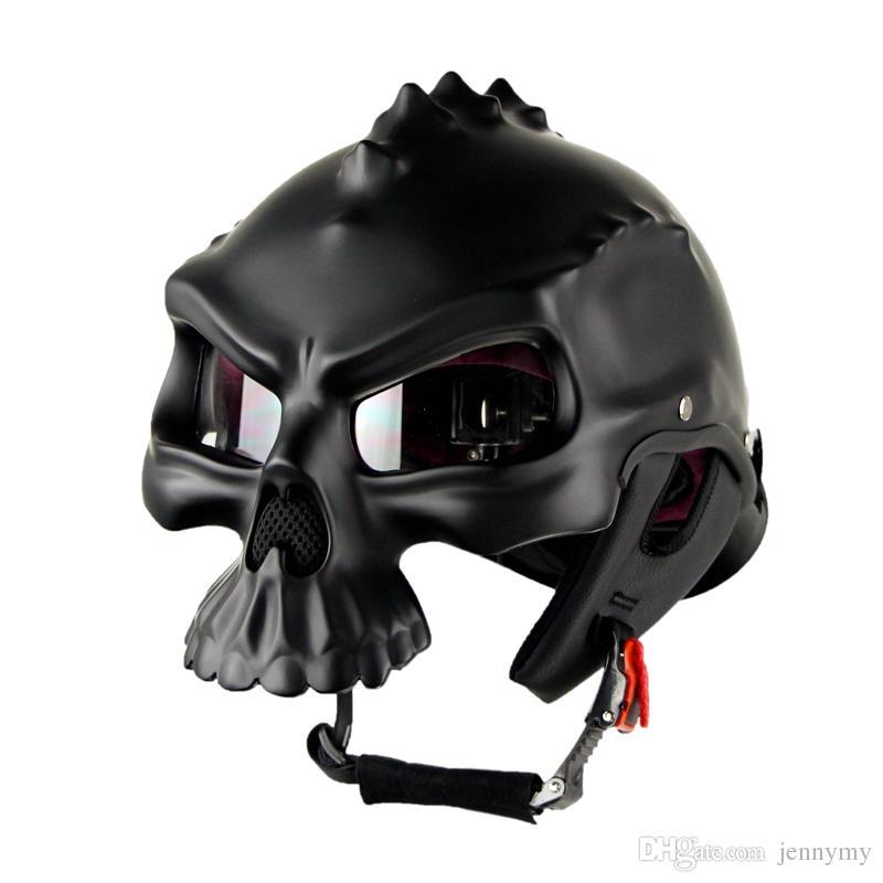 d206cafb266fc Compre Capacete De Esqueleto De Moda Personalizado Pode Ser Usado Em Ambos  Os Lados Cool Estilo Harley Locomotiva Motocicleta Capacetes De Jennymy