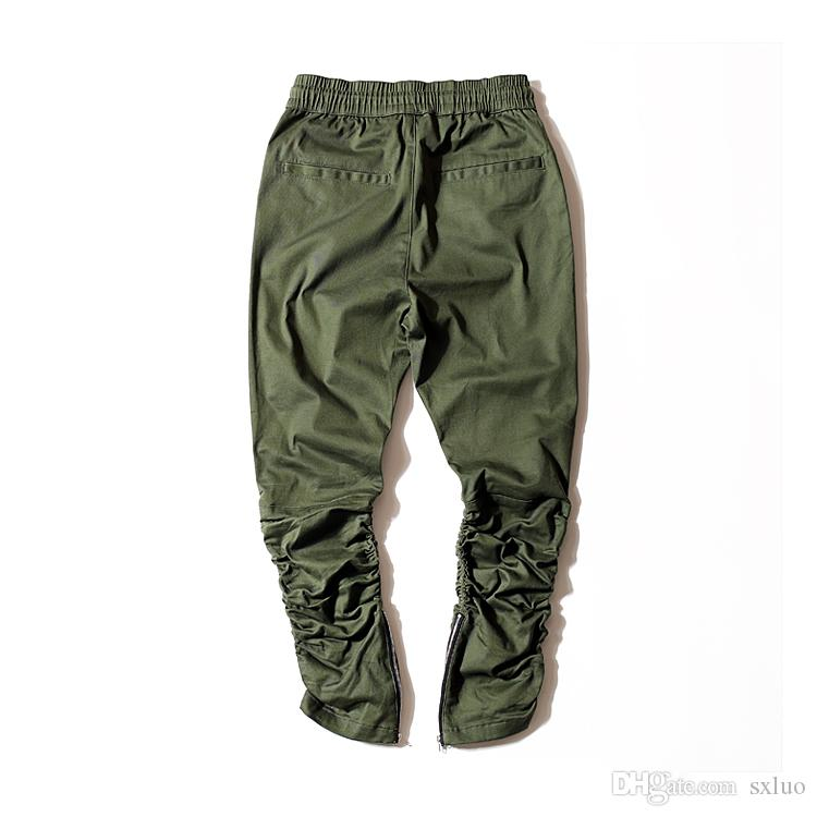 Cotton pants for men/elastic waist Slim Skinny Trousers with zipper Legs Trousers / Elasic Wasit Fold Legs Cargo Pants Army Green Black
