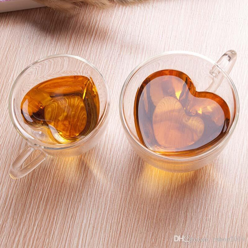 180 240mL couple lover mugs heart shape Clear Handmade Heat Resistant Double Wall Glass flower Tea Drink Cup Healthy Drink Mug Coffee Cup