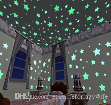100pcs 3D Stars Glow In Dark Luminous Fluorescent Plastic Wall Sticker Home Decor Decal Wallpaper Decorative Special Festivel