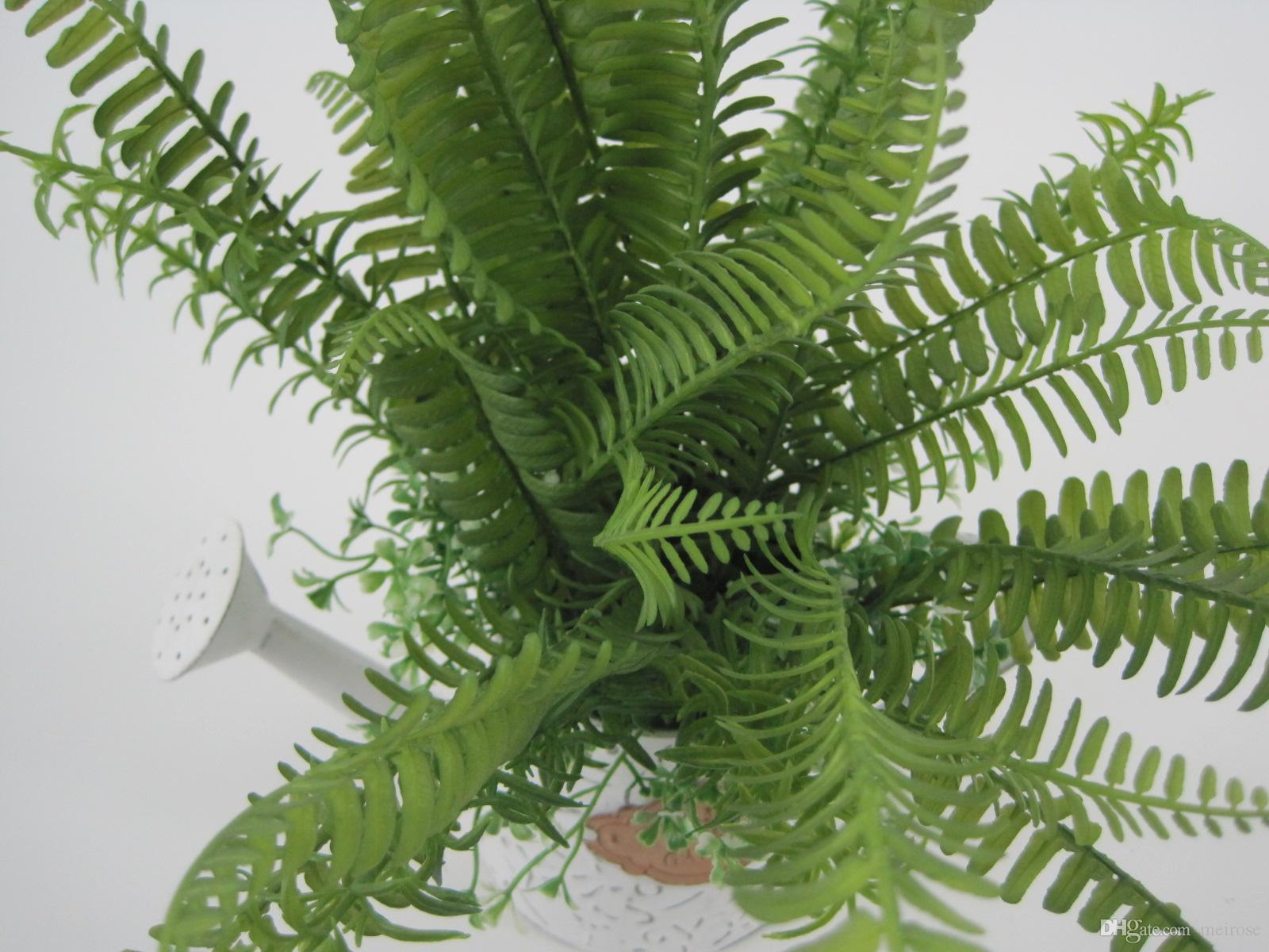 Artificial Fern Grasses with Galvanized Plate Pot Pteris Cretica Display Flower Green bonsai White Washed Potted plant for Home Deco125-1008