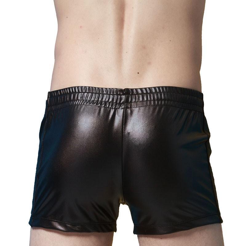 Noir / Rouge / Bleu Sexy Hommes Casual Shorts Tight Faux Cuir Shorts Boxer Cordon Maillot De Bain Wetlook Summer Night Clubwear