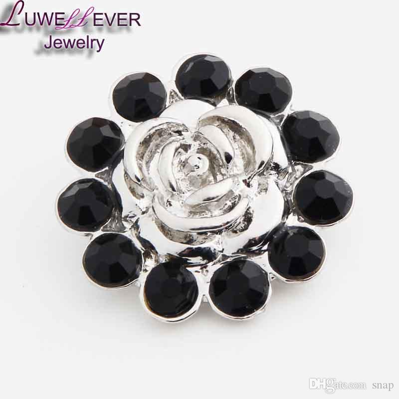 Yüksek kalite 02 için 18mm 20mm rhinestone metal düğme snap düğmesi Bilezik Kolye Takı Kadınlar Için Gümüş takı