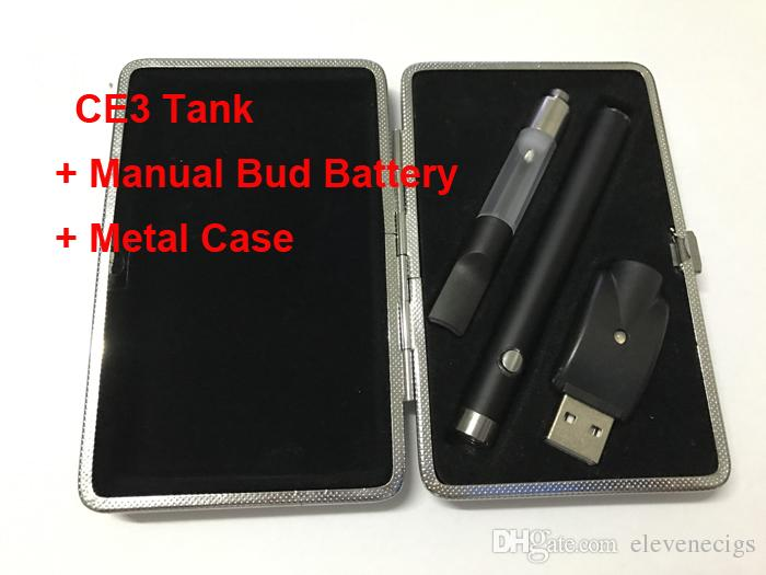 CE3 vape pen manual bud touch battey 510 ego charger atomizer vaporizer pen cartridge electronic cigarettes Metal Case starter kit