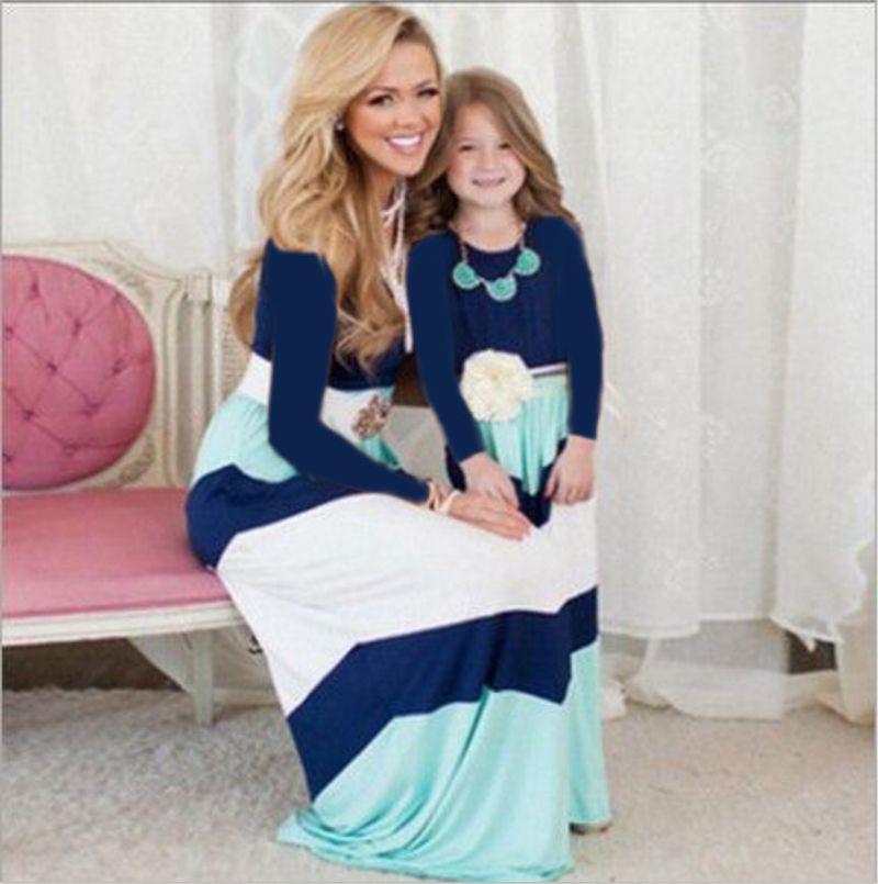 Summer Mother Daughter Dresses Girls Slim Sleeveless Long