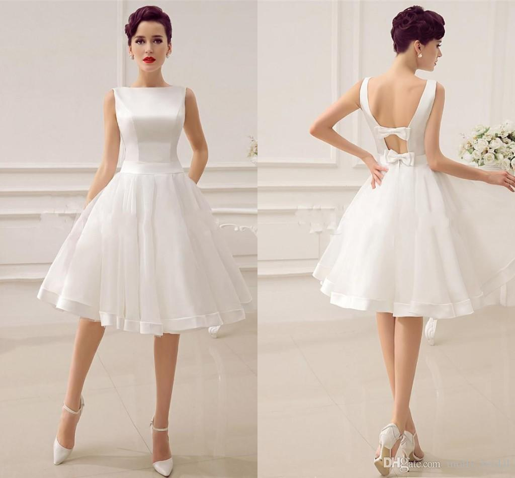 2017 Simple Cheap Short Wedding Dresses Ball Gown Bateau