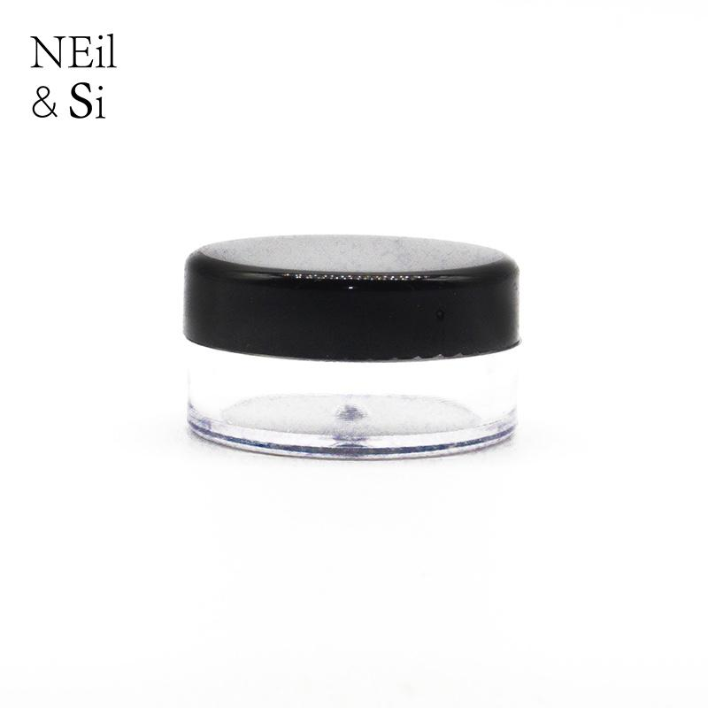 Black 3g 5g Cosmetic Plastic Jar Refillable Lip oil Cream Sample Bottle Empty Small Round Nail Polish Container Free Shipping