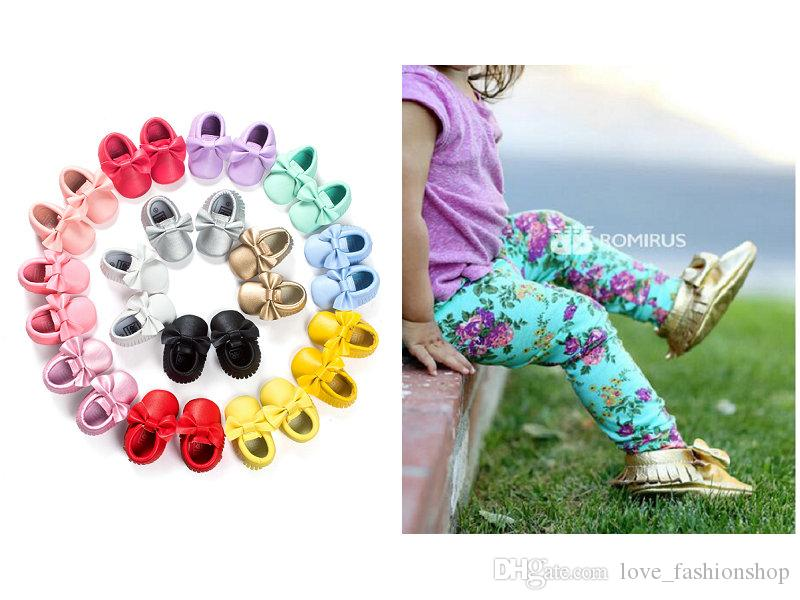 19 Colors Baby kids shoes Moccasins Soft Sole PU Leather first walkes Toddle Girls shoes prewalker bow soft bottom tassel toddler shoes