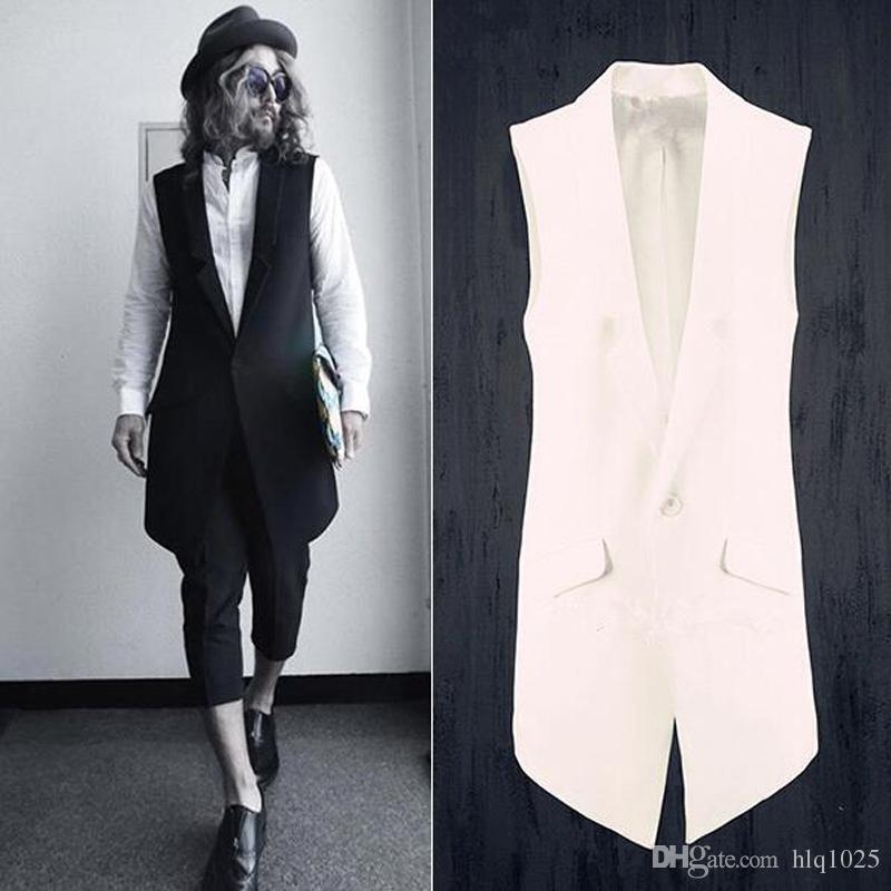 021eabcb712 Fashion Men Suits Dress Vest Men Slim Sleeveless Coat Men Casual Vest  Waistcoat Street Punk Rock Long Vest Coat Mens Vest Mens Vests Men Casual  Vest Online ...