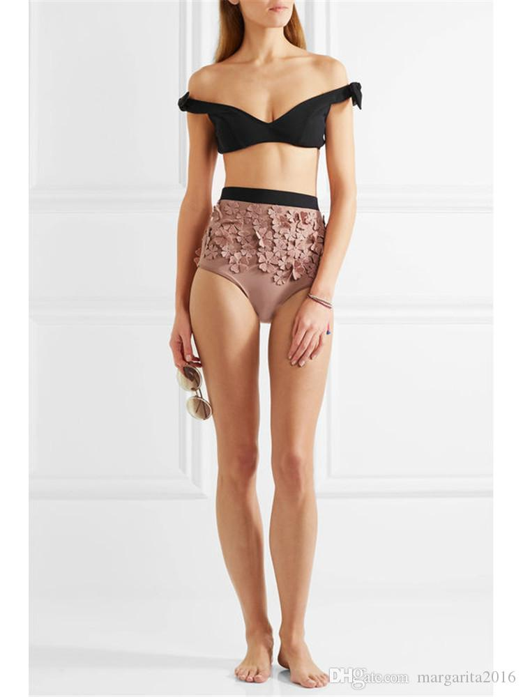 Marca Mulheres Sexy Biquíni doce cor Swimwear Beachwear Verão Push Up Bikini Set com flor rosa Praia Sutiãs Swimsuit Maiôs PS3033