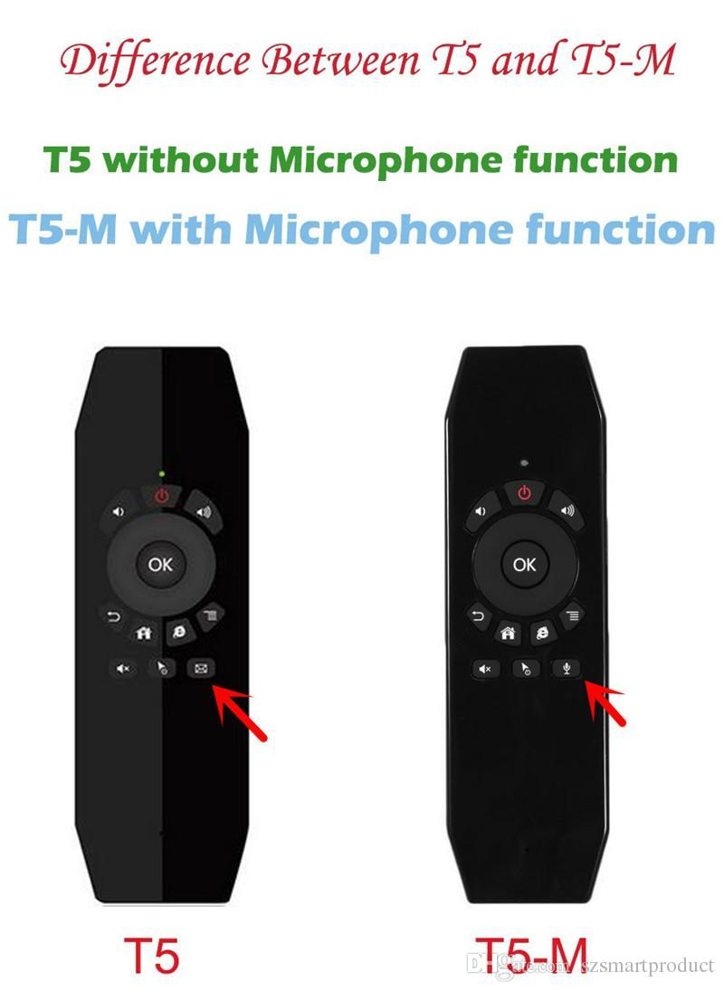 t5 2 4g wireless air mouse keyboard remote controller with mic