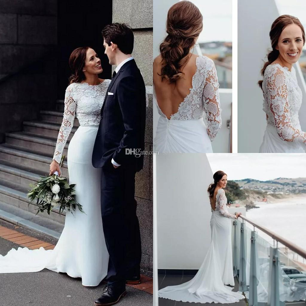 2a13eb0c66b63 Chiffon Beach Wedding Dresses With Long Sleeves Vintage Lace Open Back  Bridal Gowns With Fish Tail Elegant Simple Seaside Bride Dress