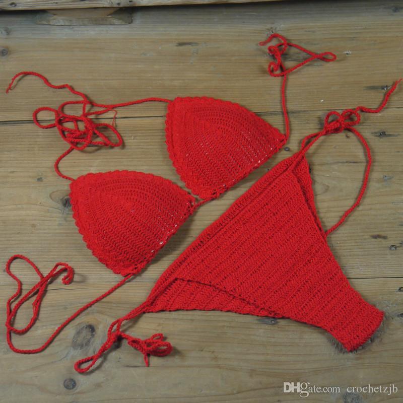 Handmade 100% Cotton Custom Colors Handmade Crochet bikini Top, Crochet Swimwear, Crop Top Sexy Bikinis, Beachwear, Spa Hotel S / M / L 0A