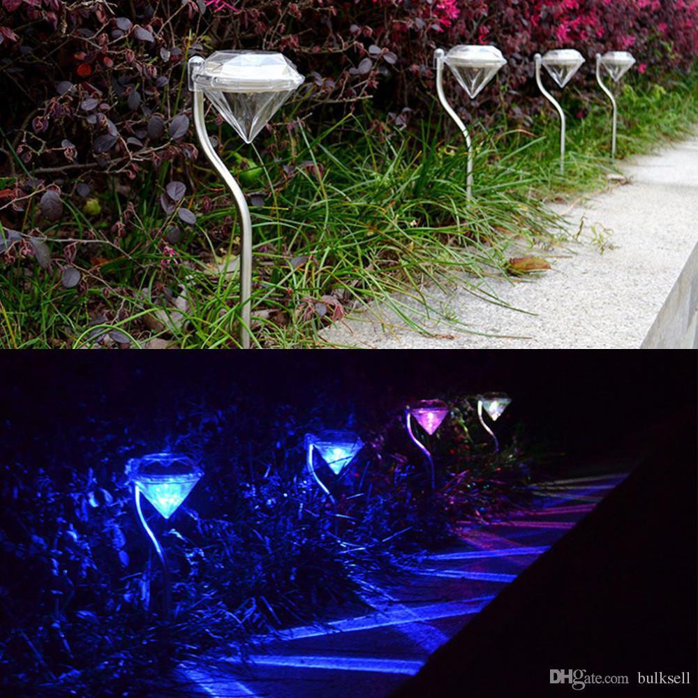 Красивый светодиодный Алмазный свет солнечной энергии RGB Алмазный пейзаж свет Открытый сад газон лампа Солнечный двор свет