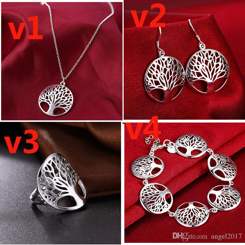 Round hollow wish tree pendant life tree necklace speed sell through hot European and American jewelry wholesale 925 silver