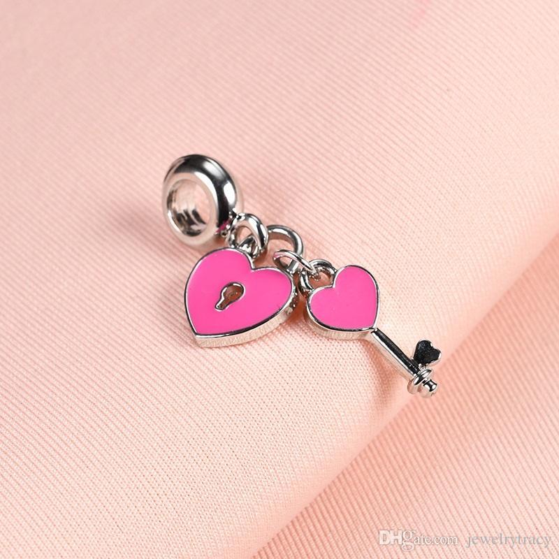 Heart Key Pendant Fits Pandora Bracelets Charm Beads Big Hole Women Pink Charm for Charm Snake Bracelets Necklaces