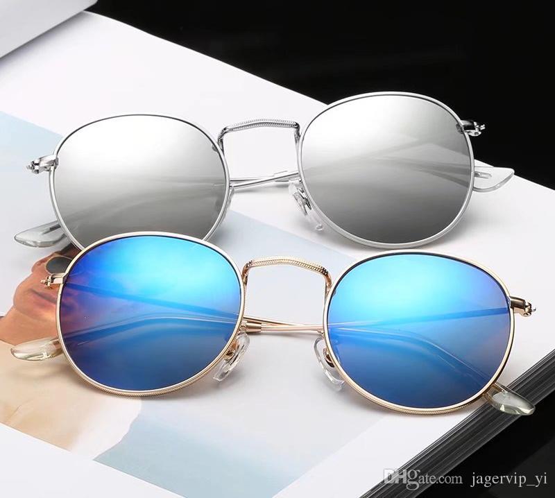 Alta qualidade Rodada Óculos De Sol Das Mulheres Dos Homens Óculos de Sol Marca Designer de Metal Armação uv400 Lente Com Casos Marrom e caixa livre