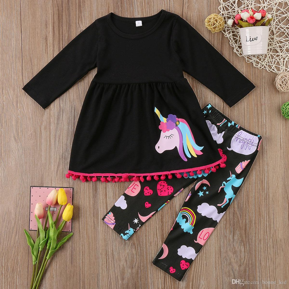 129271a38904a Unicorn Kids Baby Girls Outfits Clothes T-shirt Tops Dress Long Pants 2PCS  Set tassels colorful fancy kid clothing set