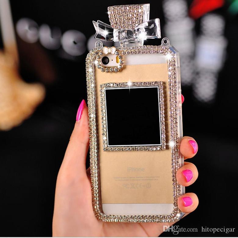 Perfume Bottle Design 3D Handmade Shiny Sparkle Diamond tpu Soft Phone Case for iphone 6 6plus 7 8plus x XS XR XS Max samsung S8 S8 plus S9