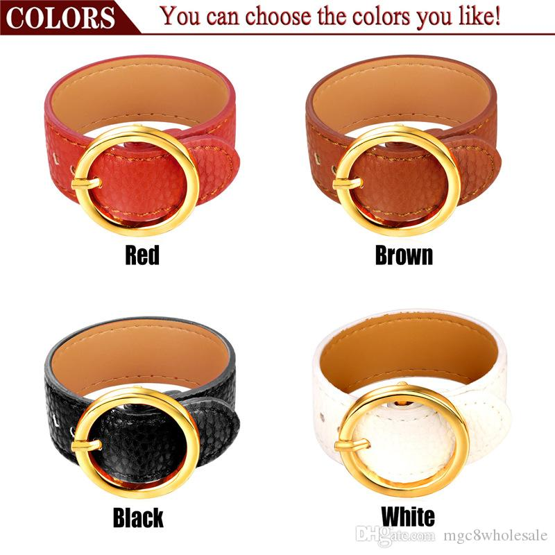 U7 New American Belt Buckle Bracelet Adjustable Brown/Red/Black/White O Shape Charm Leather Bracelets For Women Perfect Gifts Fashion Access