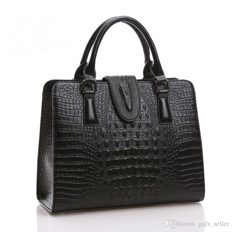 famous brand designer handbags women bags shoulder bags REAL LEATHER Crocodile Embossed Women's Bag Handbag Satchel fashion tote bags Brown