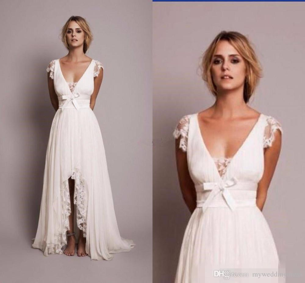 Discount 2017 bohemian chiffon hi lo wedding dresses cap for Hi lo dress wedding guest