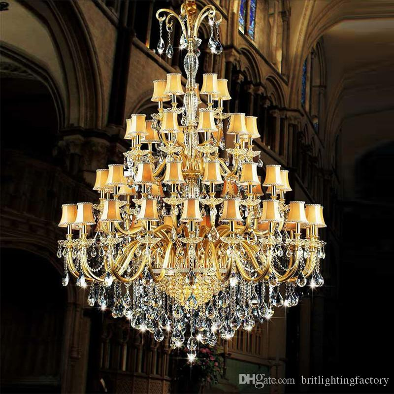 Large crystal chandelier with fabric cover gold large hotel large crystal chandelier with fabric cover gold large hotel chandelier glass arm large modern hotel banquet hall staircasecrystal chandelier chandelier aloadofball Image collections
